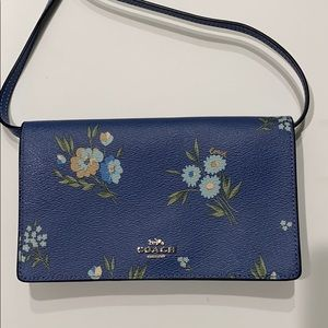 Coach cross body bag, printed floral, blue